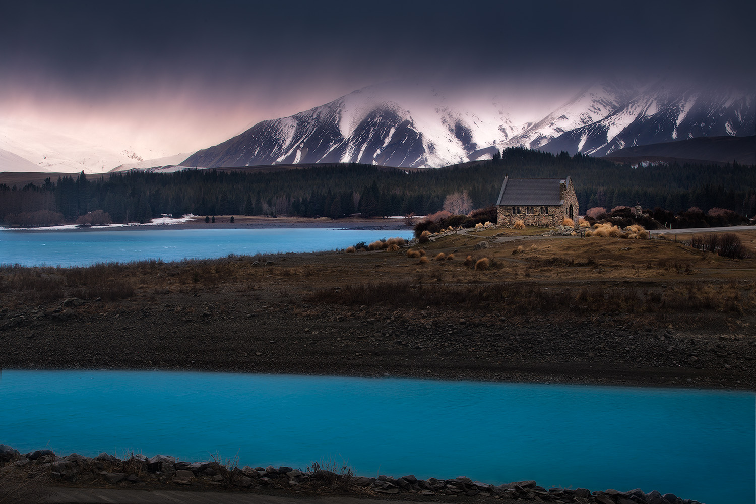 Landscape Photography Workshop Tour - The Church of the Good Shepherd, Lake Tekapo, New Zealand, Fine Art Print by Viva Karolina