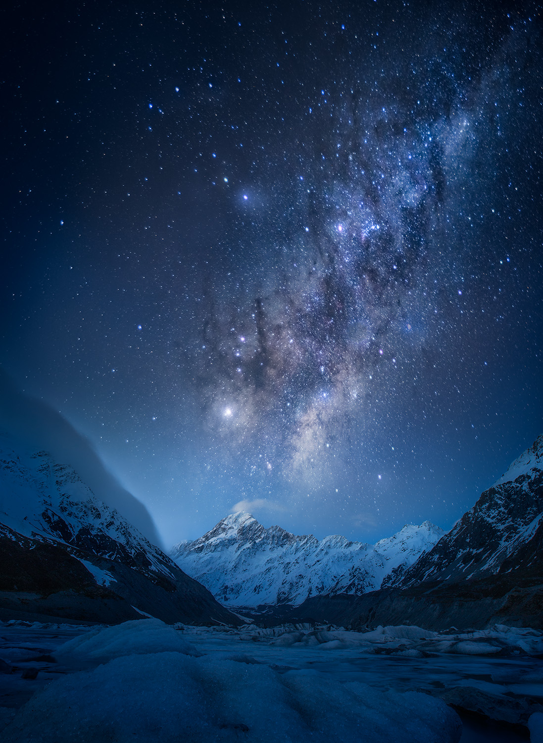 Astrophotography, Star Tracker, Vixon, composite - Mt Cook, Hooker Valley Track, New Zealand