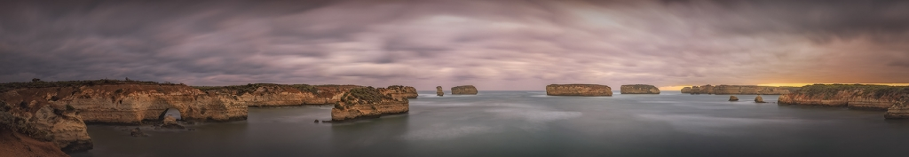Bay of Islands Sunset Panorama - Great Ocean Road | Holiday with We Are Raw Photography Tours