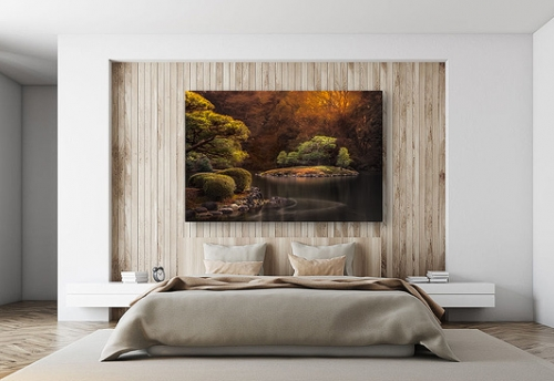 wall art photo print for your home, showcasing bedroom.