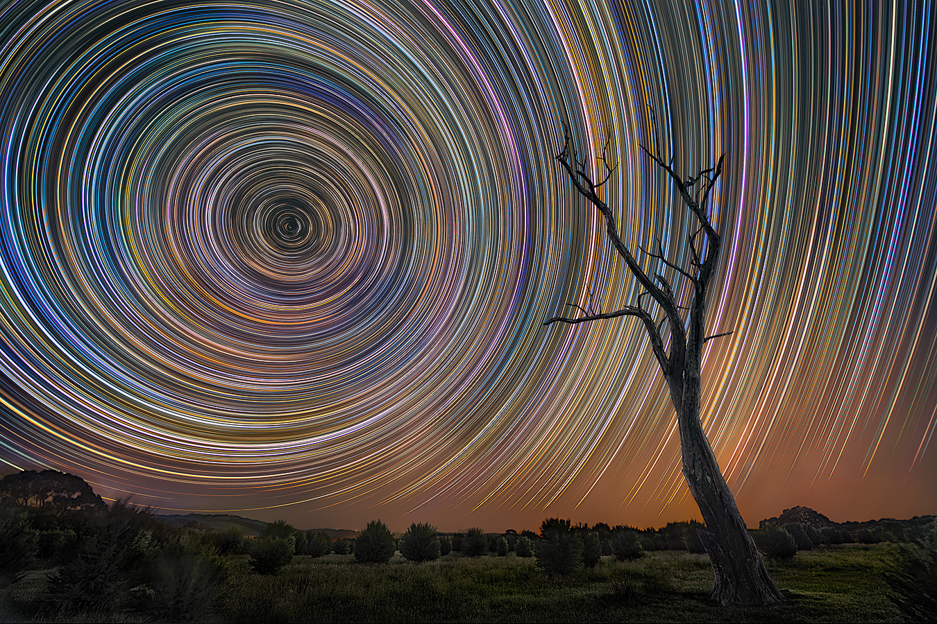 Night Landscape Long Exposure Photography | Colourful Startrail Gippsland | We Are Raw Photography Tours