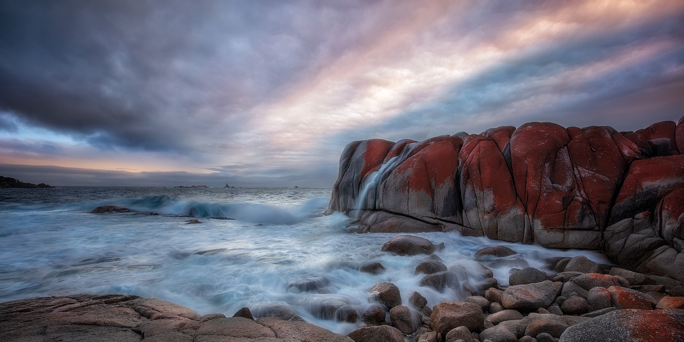 Landscape Fine Art - Breaks of Silence | George Triantafillou | Tasmania Photography Tour - The Cove, Bay of Fires Sunrise | Holiday with We Are Raw Photography Tours