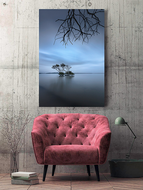 wall art photo print under acrylic glass face mount displayed above gallery foyer