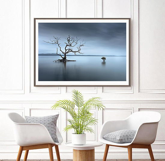 wall art photo print under acrylic glass face mount displayed at gallery entry