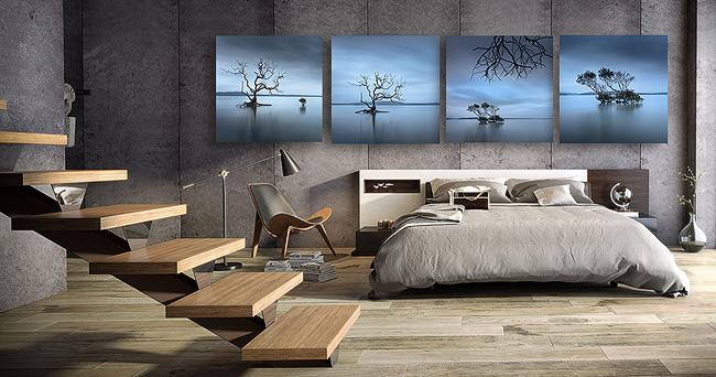wall art photo print displayed in bedroom