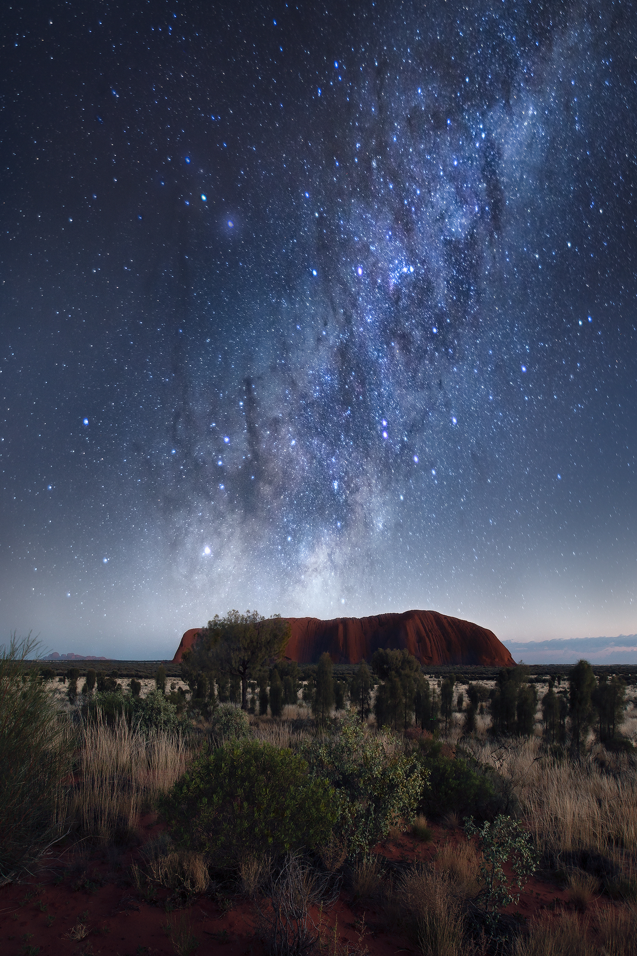 Ayers Rock, Uluru under the stars, milky way Interior design fine art print for sale.